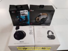Combined RRP £120 - 4 ITEMS – 2 X HE BLUETOOTH HIGH PERFROMANCE HEADPHONES, 1 X TRUST CARUS JUNGLE