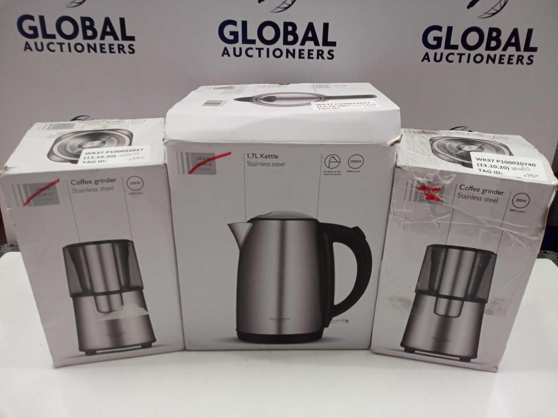 Lot 38 - RRP £20 To £25 Each Kitchen Items To Include John Lewis Steam Iron Coffee Grinders And 1.7L Kettle