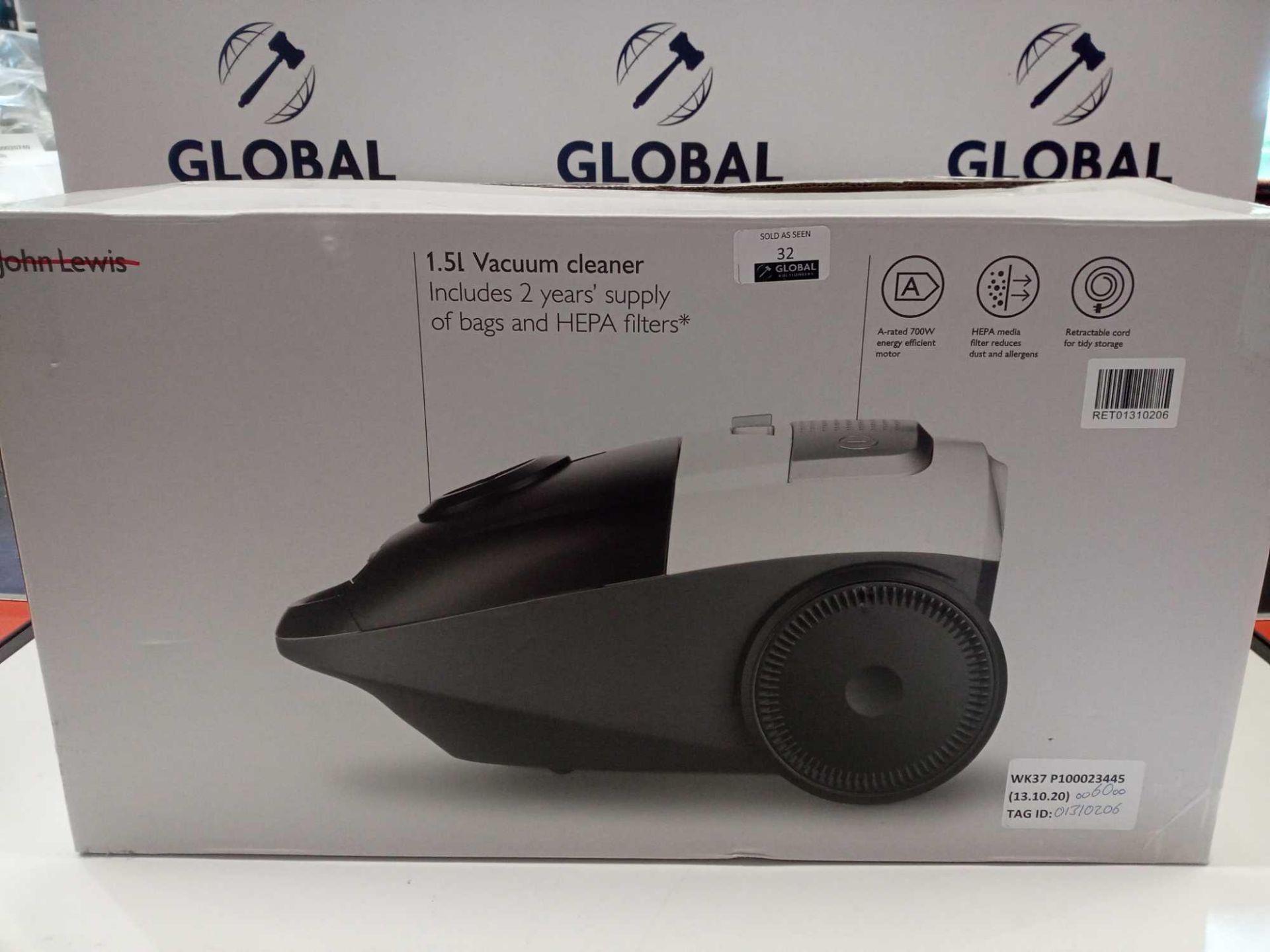 Lot 32 - RRP £60 Boxed John Lewis 1.5L Vacuum Cleaner