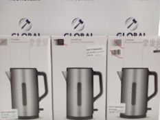 RRP £45 Each Assorted John Lewis 1.7 Litre Stainless Steel Kettles