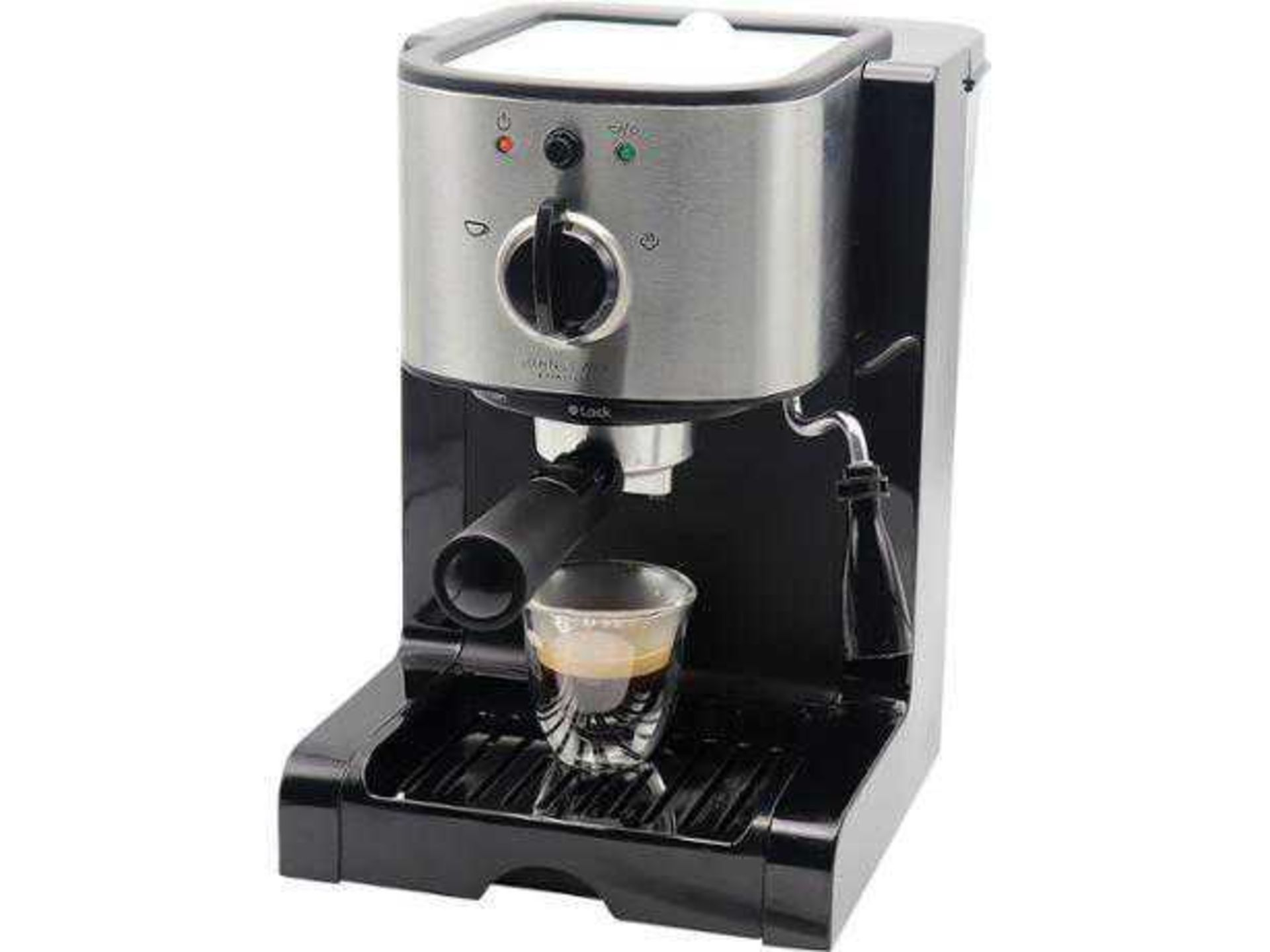 Lot 114 - RRP £70 Boxed John Lewis Pump Espresso Coffee Machine Stainless Steel