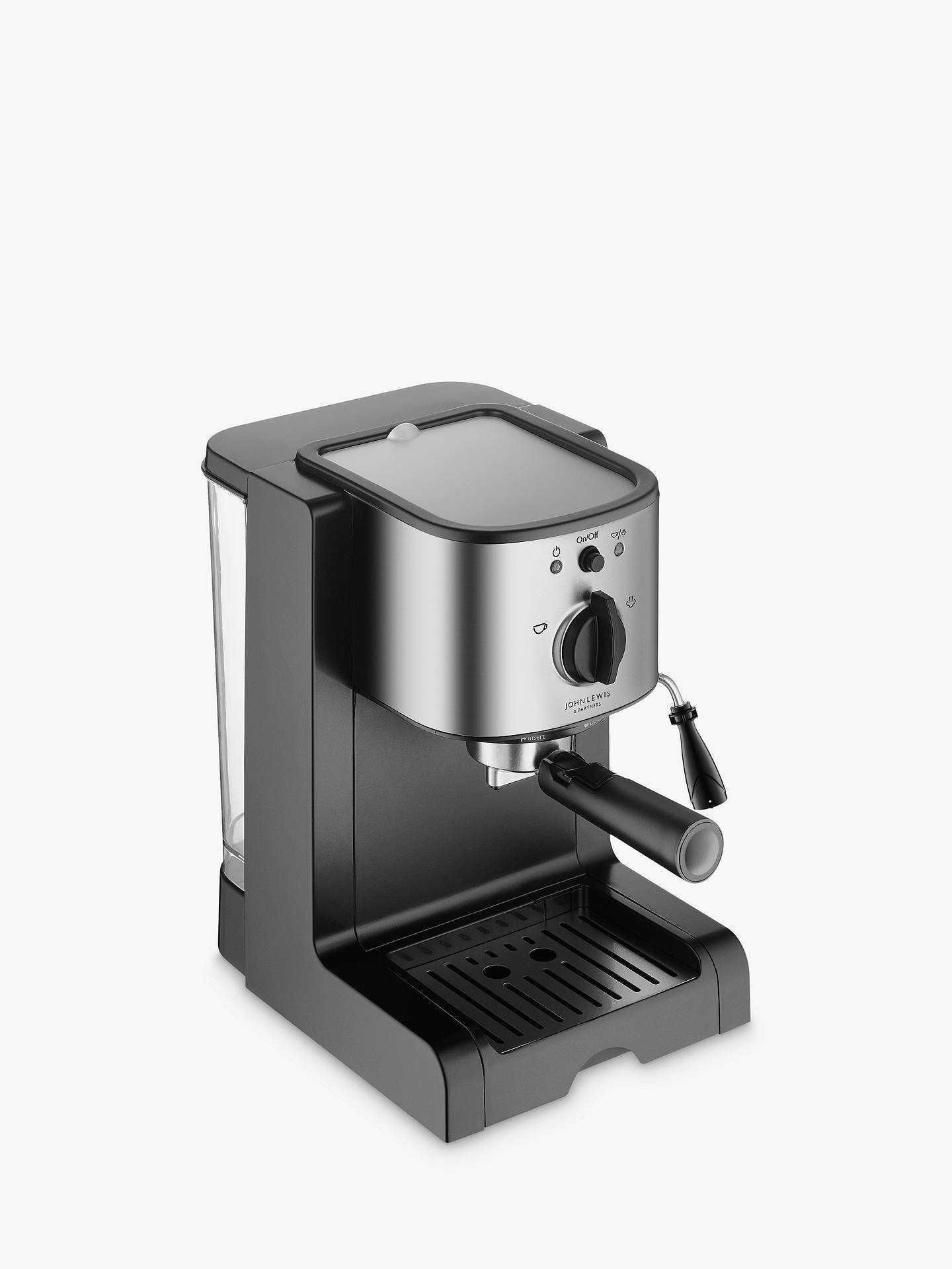 Lot 3 - RRP £70 Boxed John Lewis Pump Espresso Coffee Machine Stainless Steel