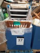 Pallet To Contain An Assortment Of Items To Include Folding Deck Chairs, Ladders, And Clothing