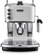 RRP £220 Boxed Delonghi Scultura Espresso And Cappuccino Coffee Maker Silver/Black (Untested)