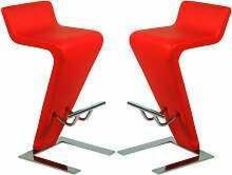 RRP £200 Boxed Furniture In Fashion Set Of 2 Farello Red Bar Stools