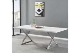 RRP £700 Boxed Furniture In Fashion Mayline 180/220X100X76Cm White Gloss Dining Table