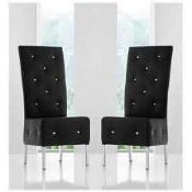 RRP £360 Boxed Furniture In Fashion Set Of 4 Asam Diamante Studded Black Faux Dining Chairs