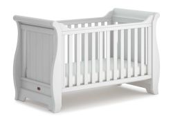 RRP £149 Boxed 4Baby White Wooden Sleigh Cot Bed