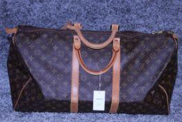 RRP £1,780 Louis Vuitton Keepall 55 Travel Bag, Brown Monogram Canvas, Vachetta Handles, 55X28X25Cm,