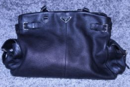 RRP £1200 Prada Side Pocket Tote Shoulder Bag In Black Small Grained Leather With Black Leather
