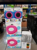 7 ITEMS – 4 X HE AURA COLOUR CHANGING SPEAKER, 2 X HE LIGHT UP SHOWER SPEAKER & 1 X HE LANTERN LIGHT