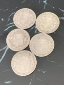 5 silver half crowns from the reign of George V dated 1922