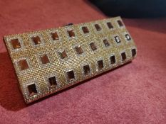 Gold stones party hang clutch bag, all stones intact