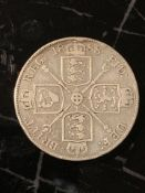 Sterling Silver 1888 Double Florin – 4 shillings back in the day. Very close in size to a crown (5