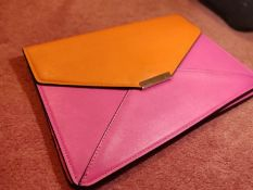 Pink and orange iPad storage/carrying case.