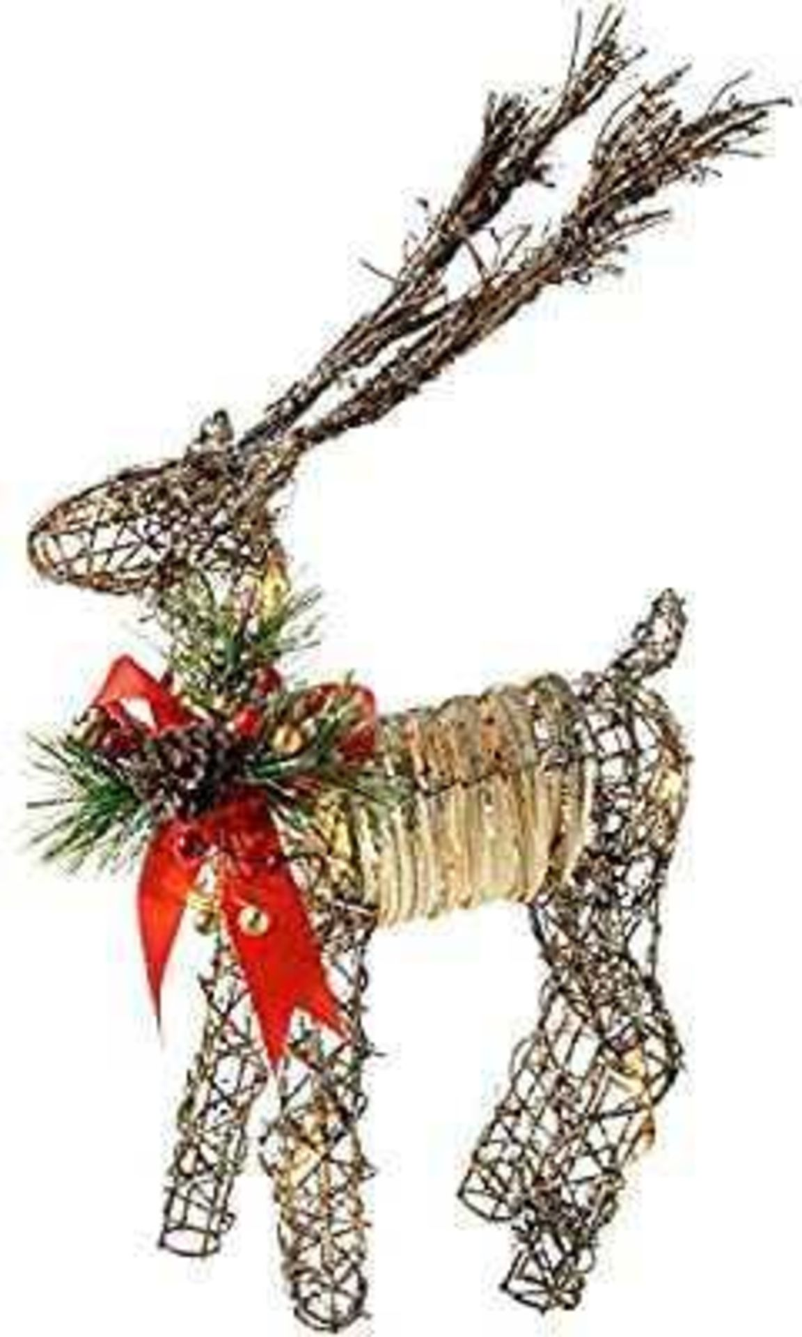 RRP £30 Lot To Contain Werchristmas Pre-Lit Rattan Warm White Led Reindeer With Red Ribbon, Snow And