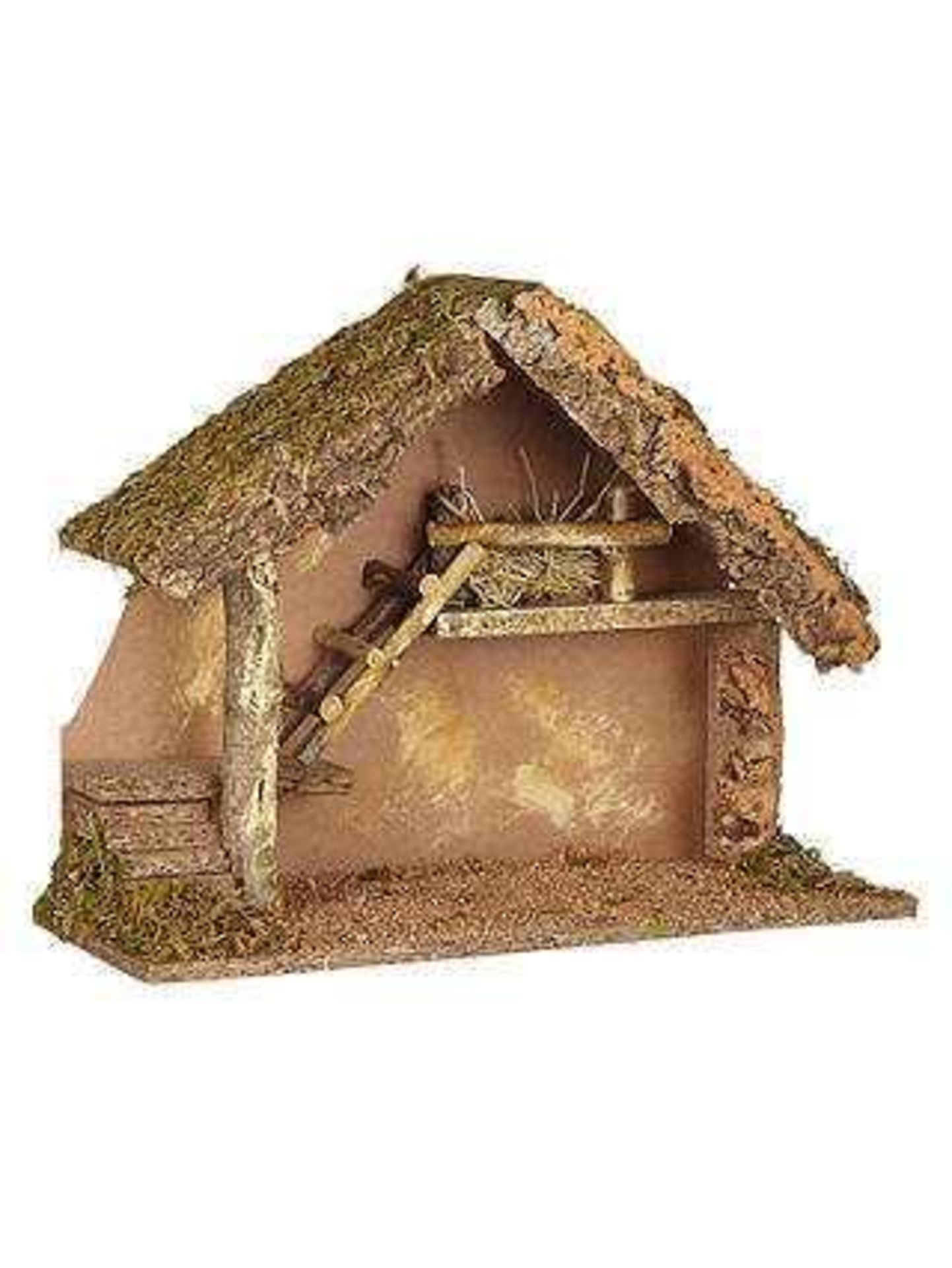 RRP £30 Unboxed Wooden Small Nativity Farm Hut