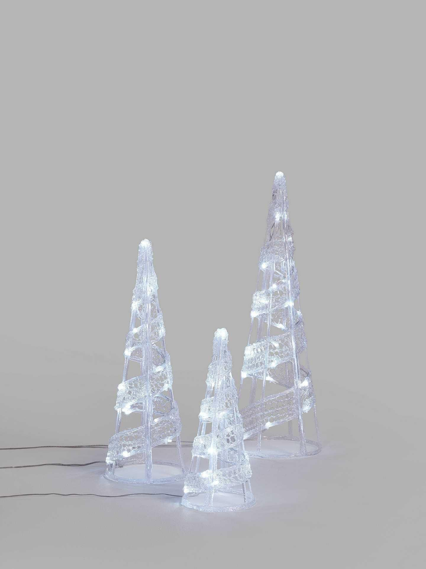 RRP £75 Boxed John Lewis Indoor And Outdoor Clear Wire Ice White Twinkle Set Of 3 Cones