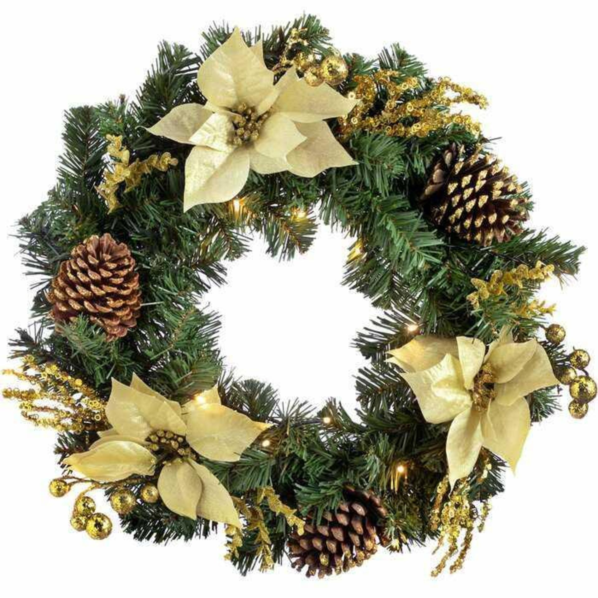 RRP £40 Boxed The Seasonal Aisle Pre Lit Illuminated 60Cm Christmas Wreath (10420)