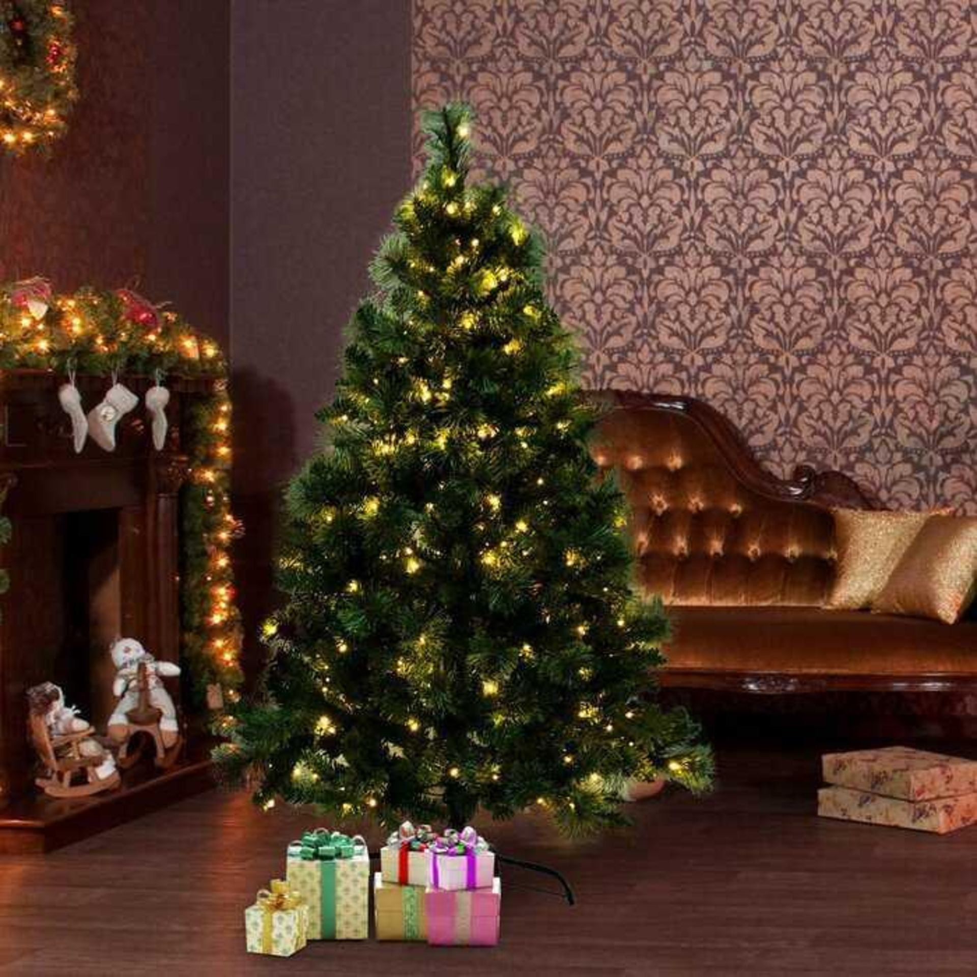 RRP £100 Lot To Contain A 5Ft Green Spruce Artificial Christmas Tree With 100 Warm White Lights