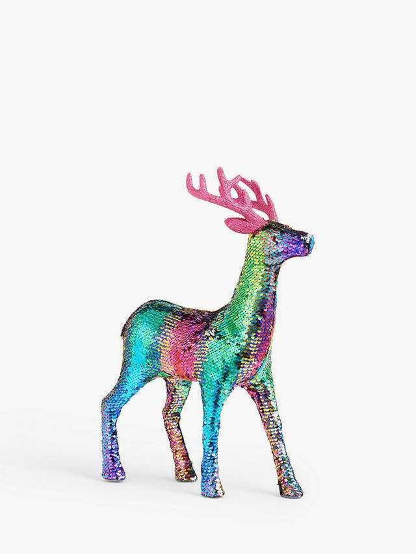 RRP £40 Unboxed John Lewis Pop Art Rainbow Sequin Deer Figure