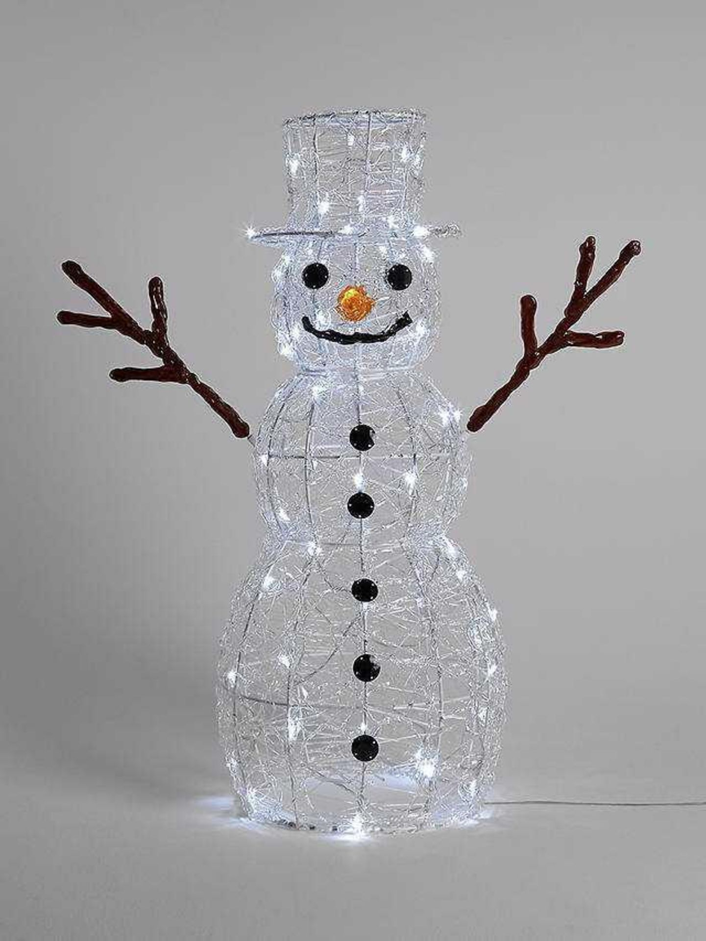 RRP £100 Boxed John Lewis Indoor And Outdoor Ice White Led Snowman Light