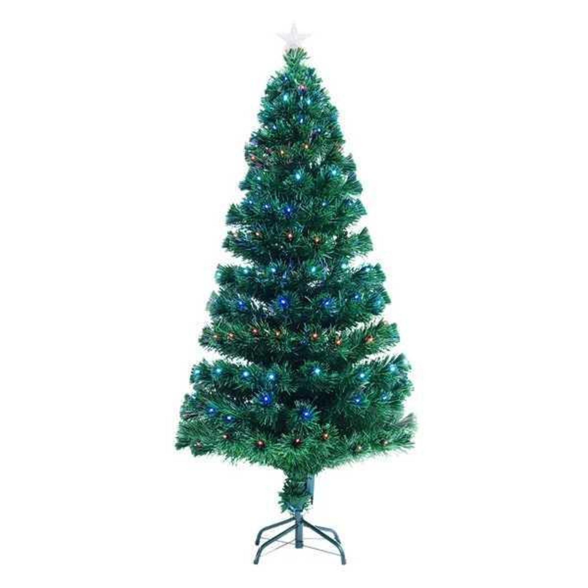 RRP £50 Boxed 5Ft Green And Clear Artificial Christmas Tree With 180 Multi Coloured Lights