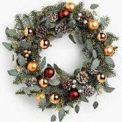 RRP £35 Boxed Artificial Holly With Baubles Door Decoration