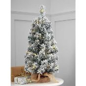 RRP £35 Boxed George Home 2Ft Mini Pre Lit Snowy Tree