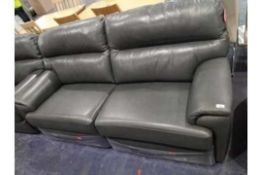 RRP 2200 Sourced From A High-End Furniture Store G Plan Grey Leather Recliner Sofa With 2 Matching