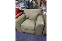 RRP 350 Designer Fabric Green Armchair (Appraisals Available Upon Request) (Images for
