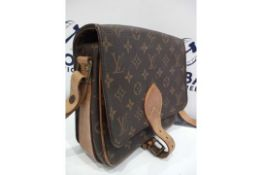 RRP £1200 Louis Vuitton Cartouchiere Mm Brown Coated Monogram Canvas Vachetta Golden Brass