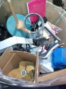 Box To Contain A Large Assortment Of Items To Include Animal Lamps, Hand Held Vacuum Parts, Lamp