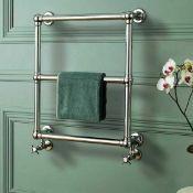 RRP £150 Boxed Burcombe Ball Jointed Towel Rail Chrome W600Xh686 Steel