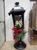 RRP £30 Unboxed Outdoor Lantern With Holly Decor (3090660) (Appraisal Available Upon Request) (