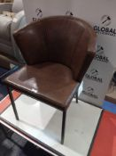 RRP £280 Sourced From High-End Designer Supplier Art Deco Style Brown Vintage Leather Armchair
