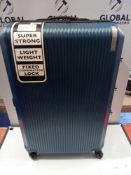 RRP £50 Qubed2 Super Strong Lightweight Fix Combination Lock Suitcase In Blue