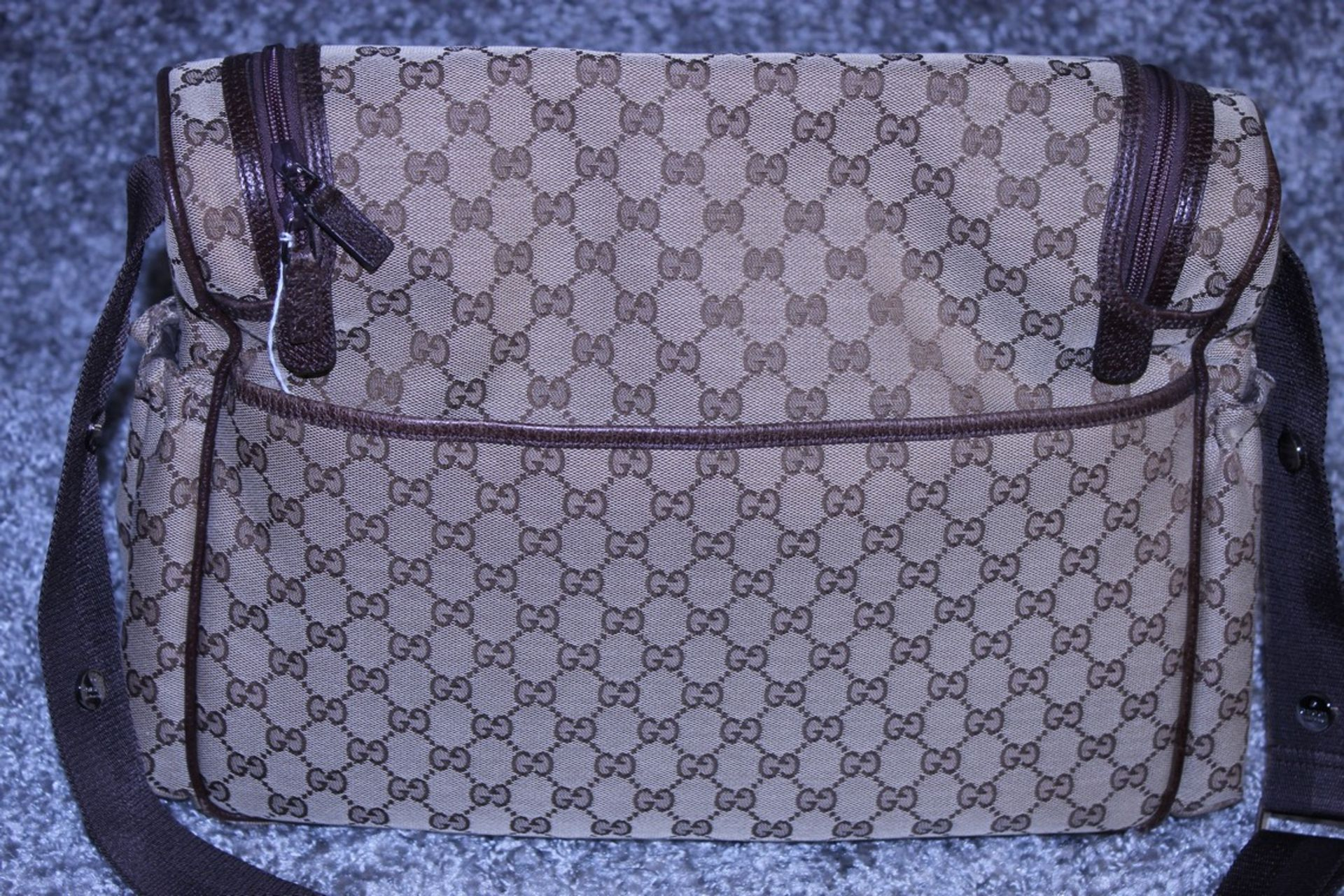 RRP £1,200 Gucci Original Diaper Bag, Beige/Dark Brown Monogramme Canvas, 36X28X12Cm (Production - Image 2 of 5