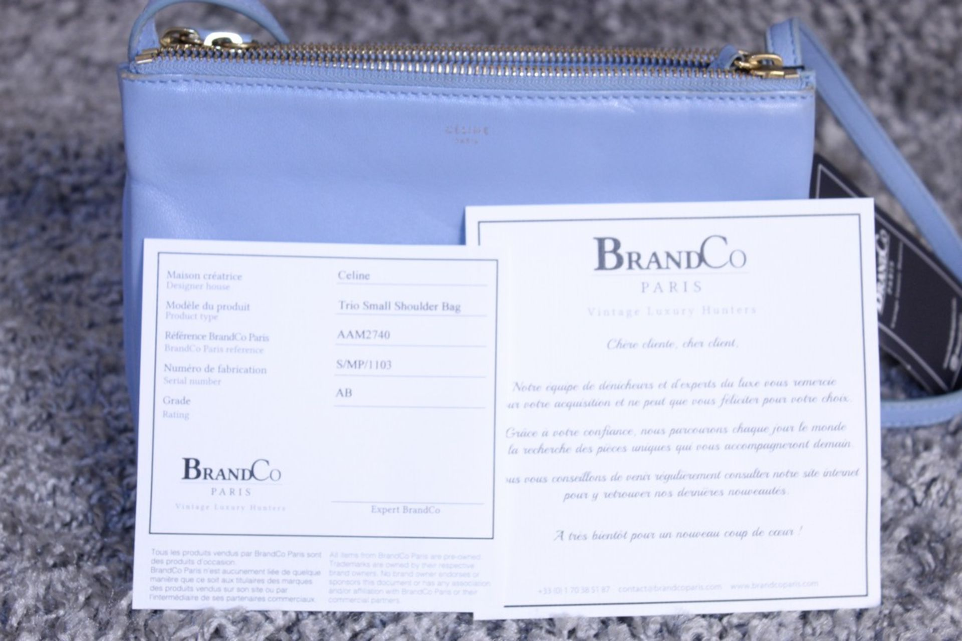 RRP £890 Celine Small Shoulder Bag, Blue Small Grained Claf Leather With Blue Leater Handles. - Image 4 of 4