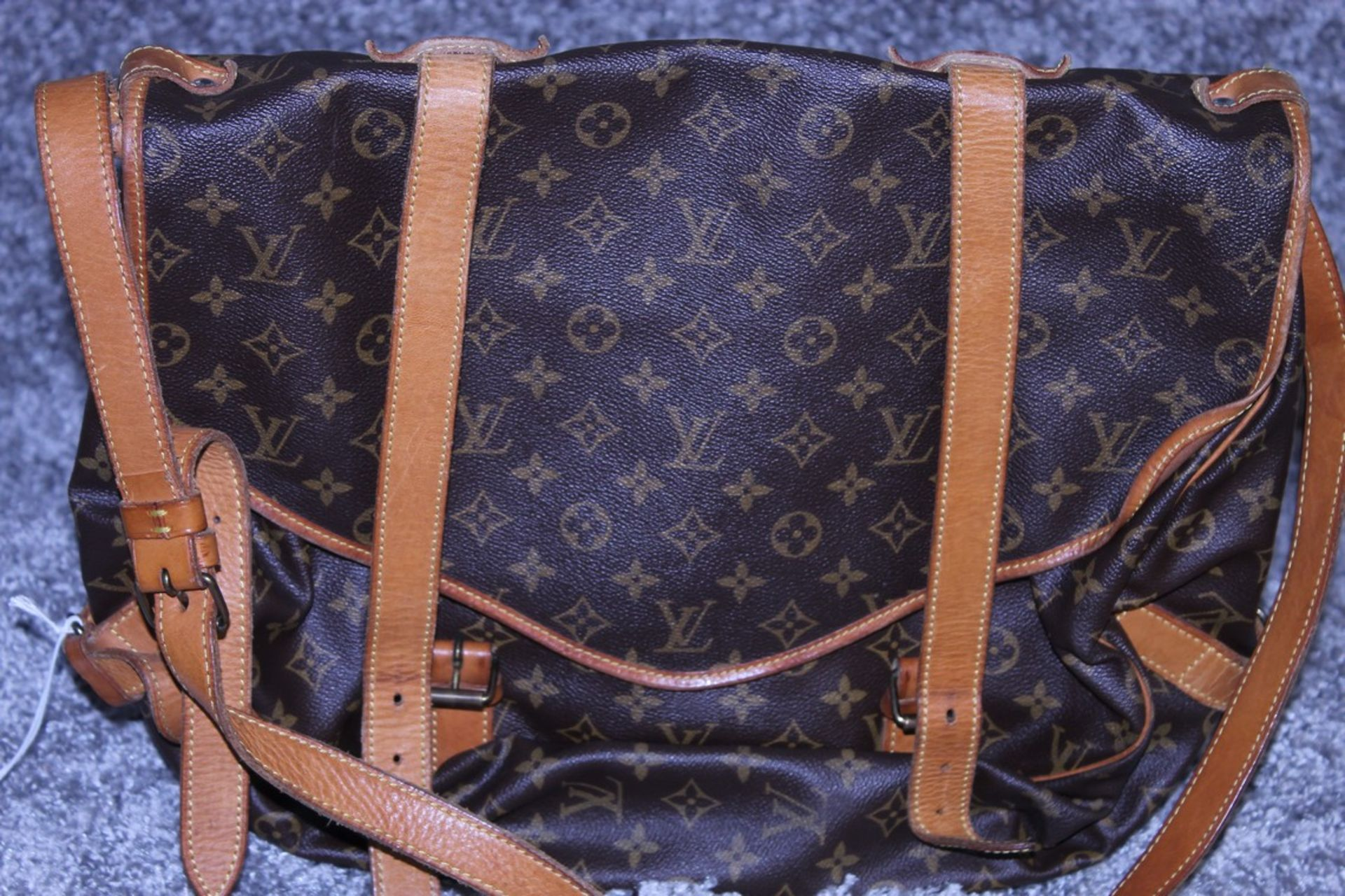 RRP £1,500 Louis Vuitton Saumur Double Strap Shoulder Bag, Brown Monogram Canvas, Vachetta - Image 2 of 4