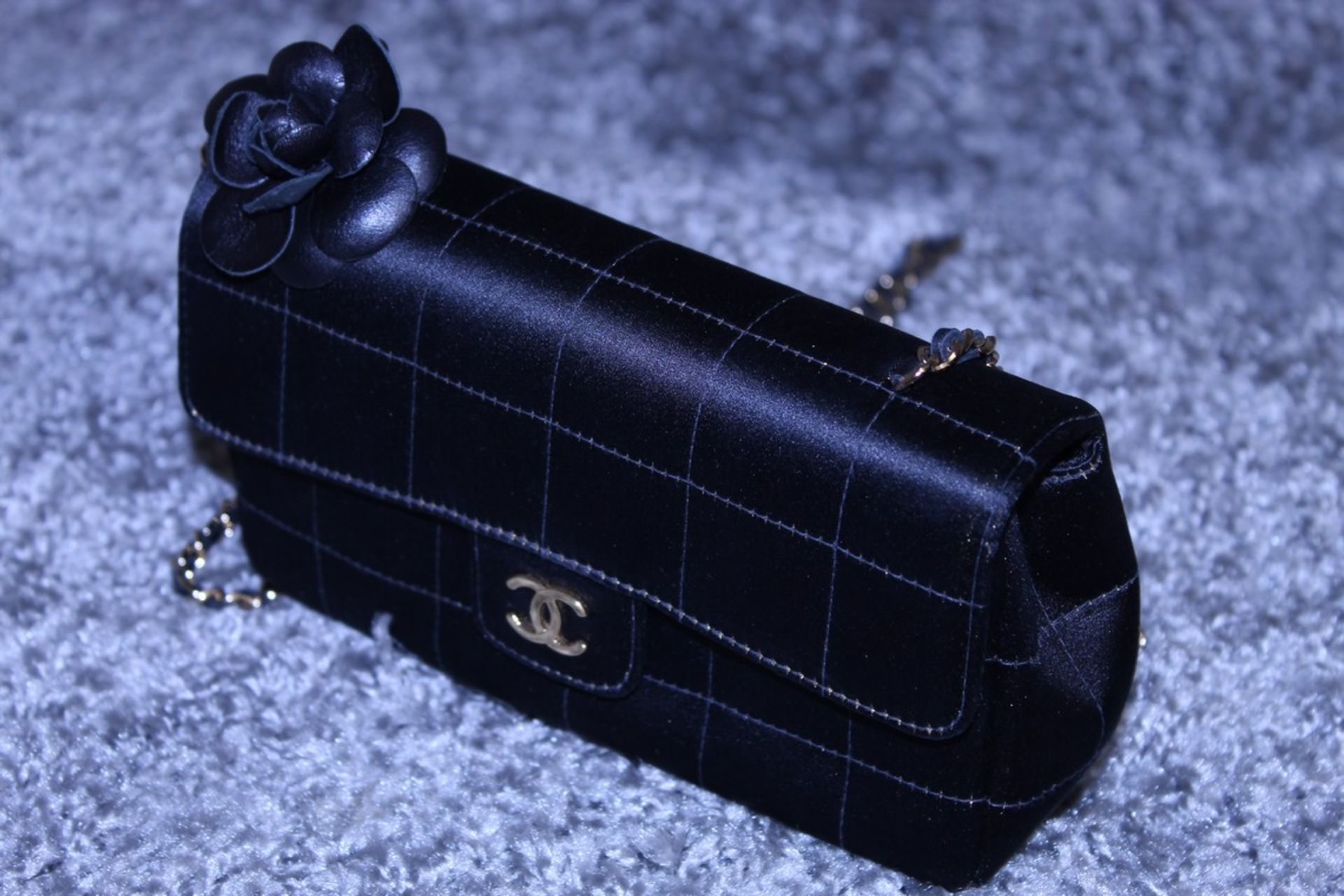 RRP £3,500 Chanel Timess Silk Bag, Black Canvas Square Quilted, Gold Chain Handles (Production - Image 3 of 4