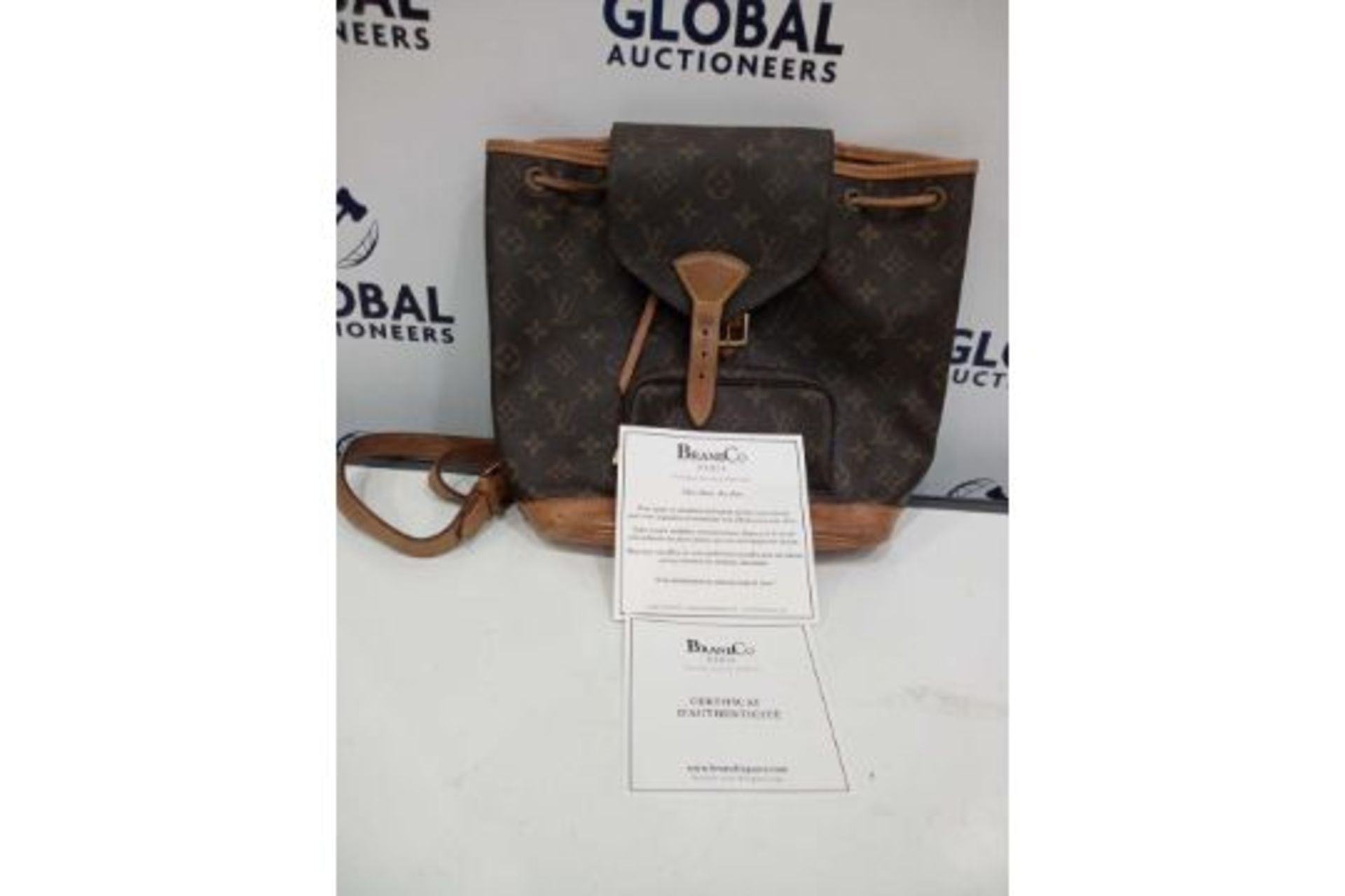 RRP £1800 Louis Vuitton Montsouris Brown Coated Monogram Canvas Vachetta Golden Brass Shoulder - Image 3 of 4