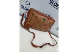 RRP £600 Mcm Cognac Visteos Cognac Leather Coated Canvas Golden Hardware Zip Shoulder Bag (Condition