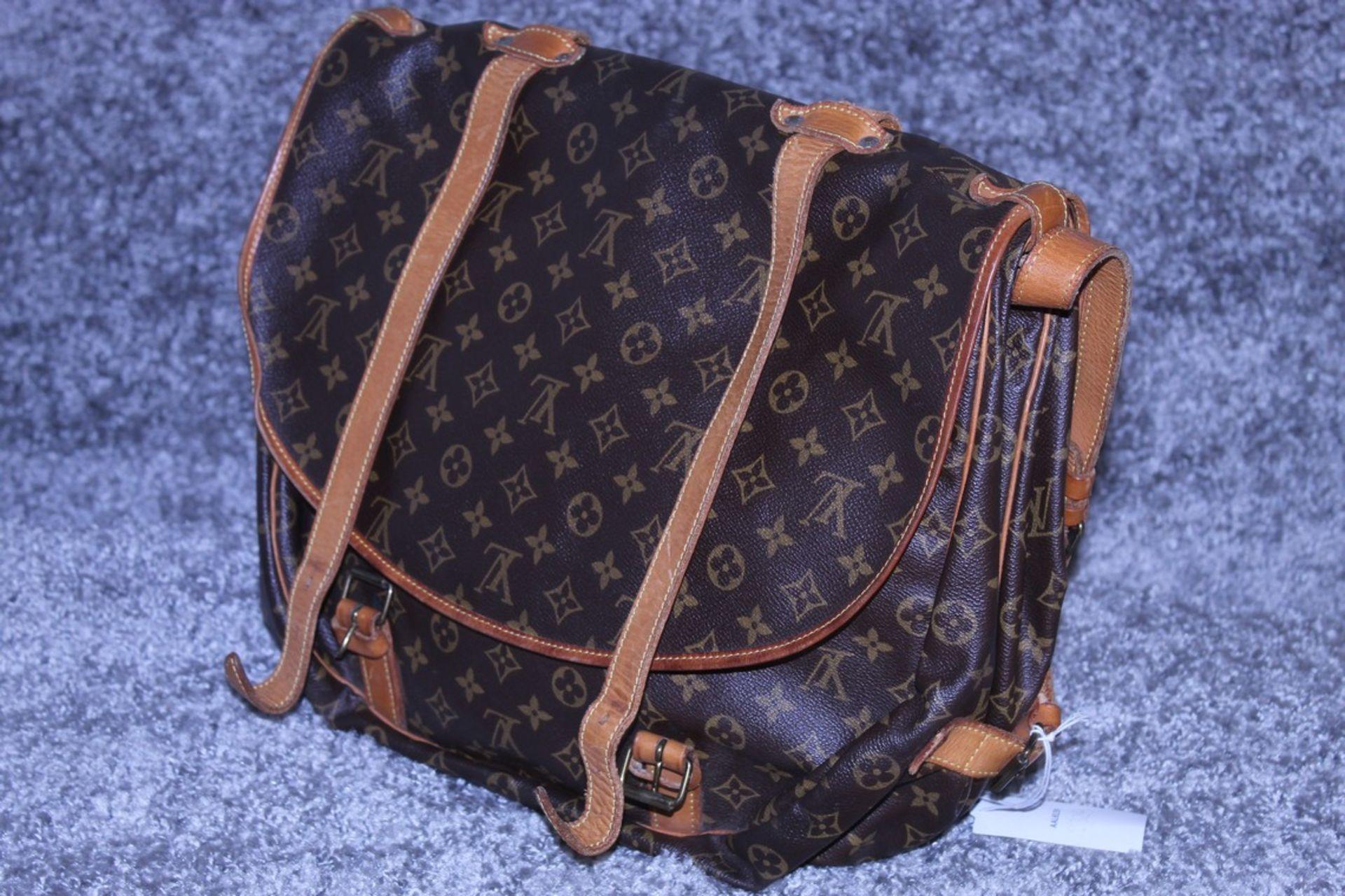 RRP £1,500 Louis Vuitton Saumur Double Strap Shoulder Bag, Brown Monogram Canvas, Vachetta - Image 4 of 4