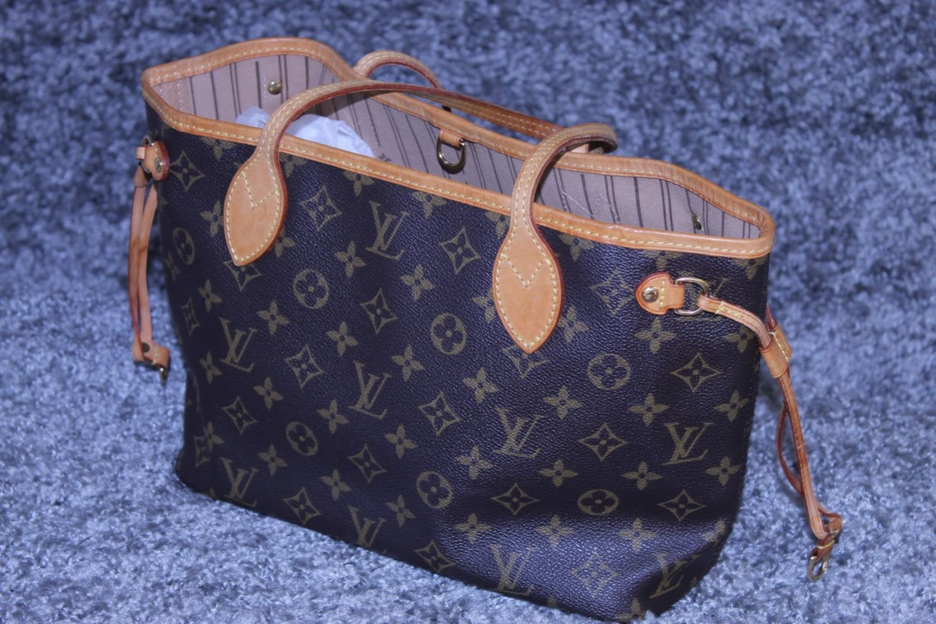 RRP £1500 Louis Vuitton Neverfull Handbag In Brown Coated Monogram Canvas With Vachetta Handle ( - Image 3 of 6
