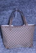 RRP £1050 Gucci Craft Tote Monogramme Tan Leather Beige/Brown Gm Canvas Shoulder Bag With Gold