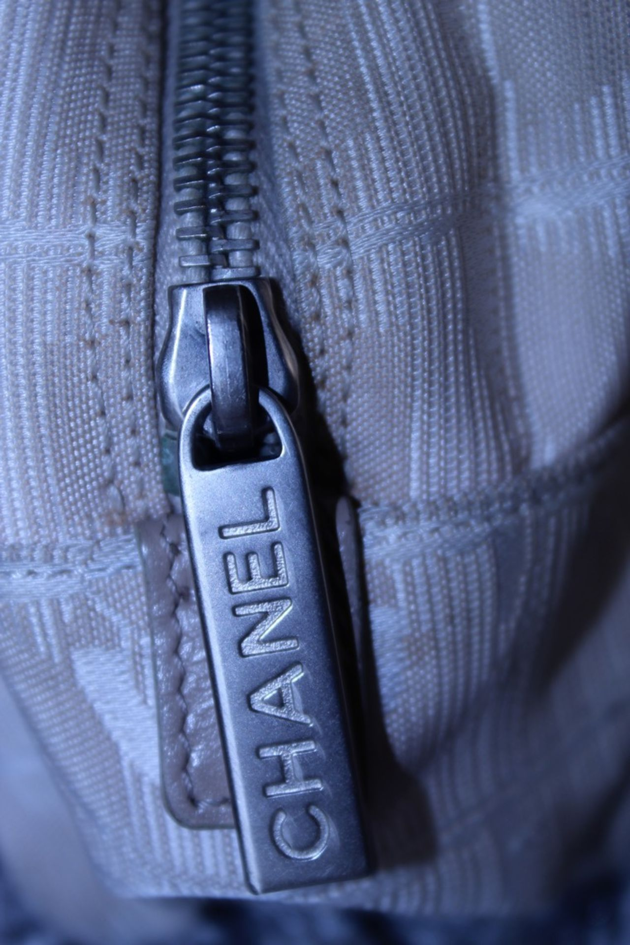 RRP £1200 Chanel Travel Line Bowling Shoulder Bag In Beige Canvas With Beige Canvas Handles. - Image 3 of 4