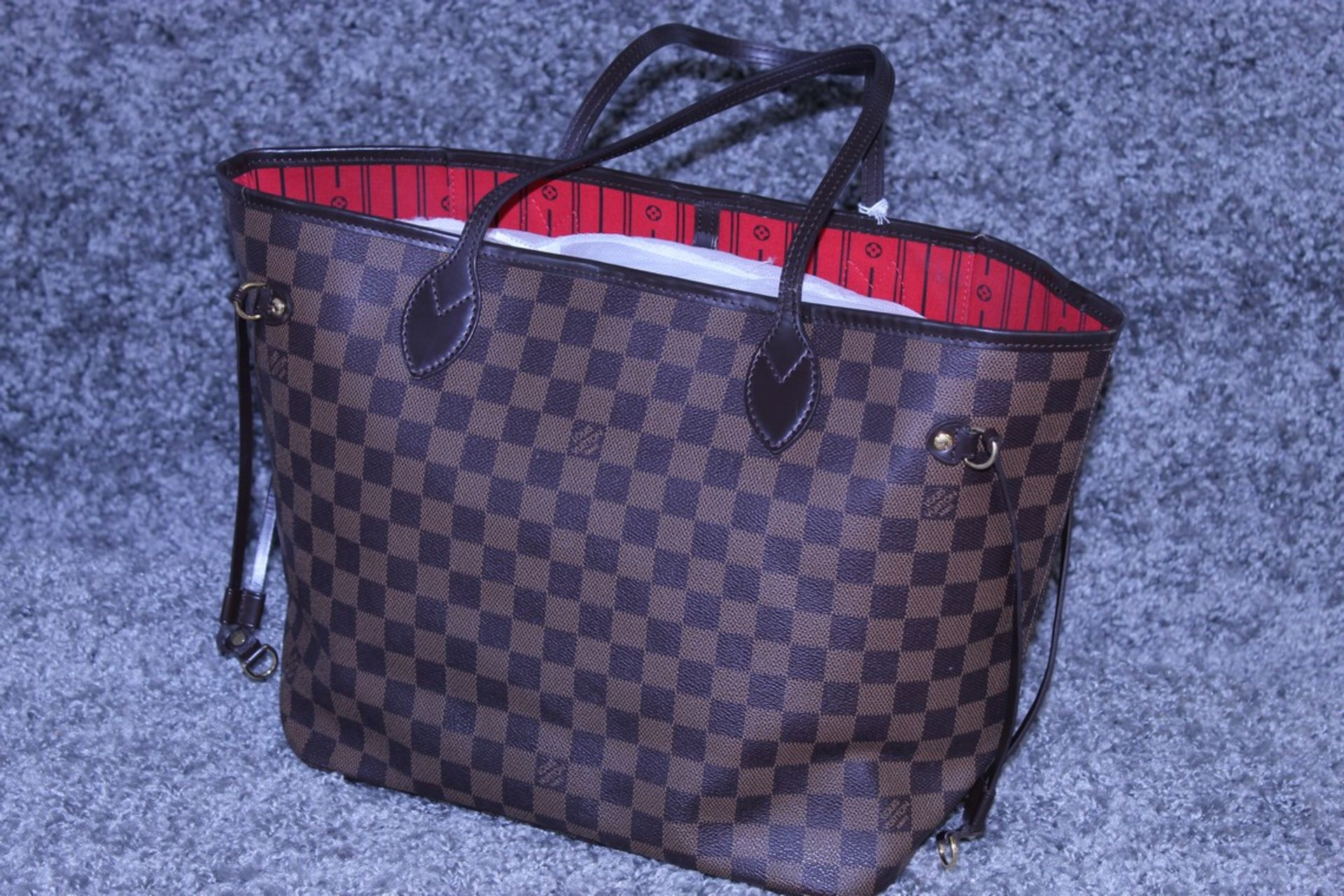 RRP £1300 Louis Vuitton Neverfull Shoulder Bag In Brown Coated Canvas With Vachetta Handles ( - Image 3 of 5