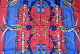 RRP £680 Hermes 100% Twill Silk Scarf, Grand Manege, Red/Blue/Grey 90X90Cm, Condition Rating Aa (