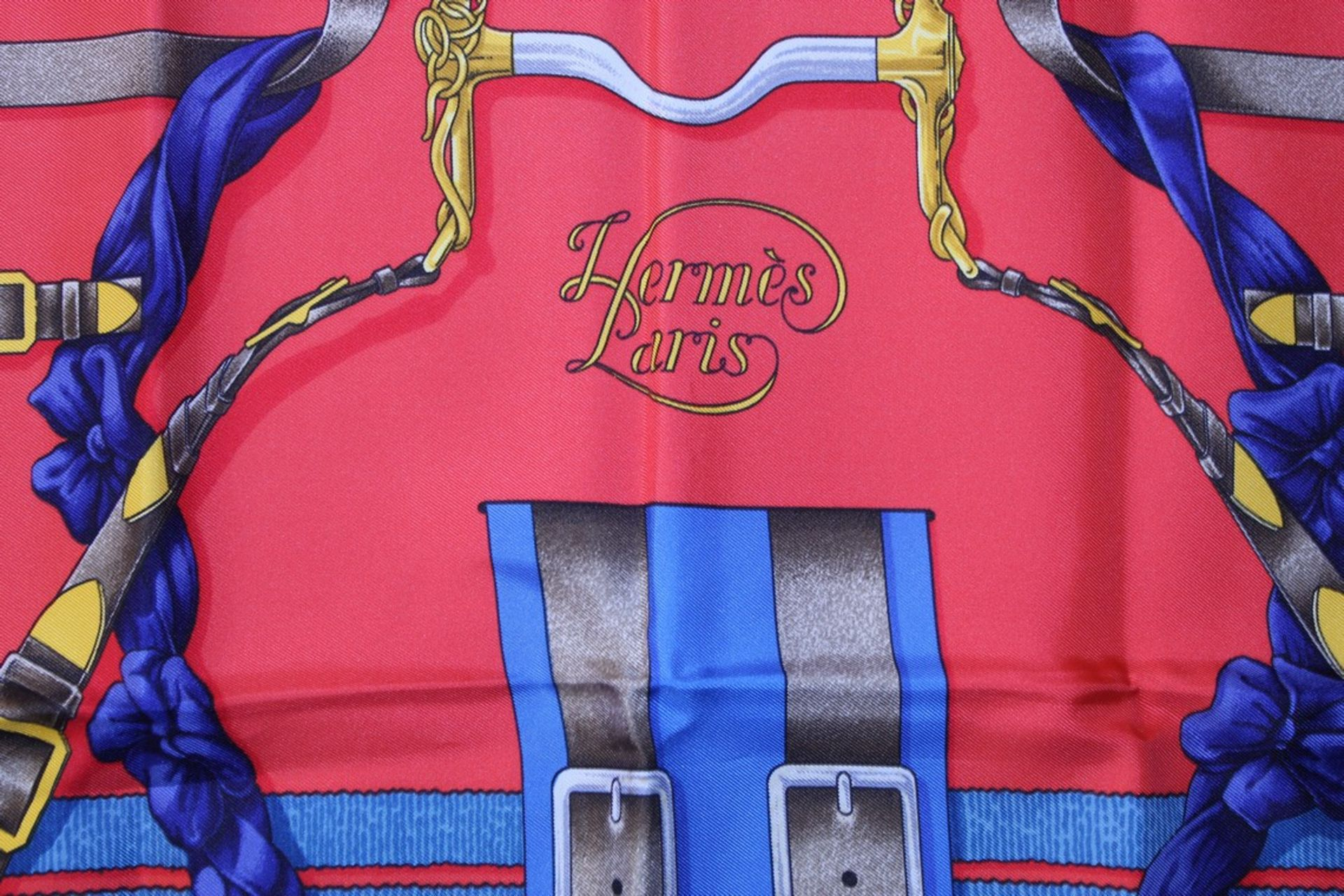 RRP £680 Hermes 100% Twill Silk Scarf, Grand Manege, Red/Blue/Grey 90X90Cm, Condition Rating Aa ( - Image 3 of 4
